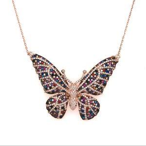 Jewelry - Rose Gold Butterfly Necklace with Swarovski 925